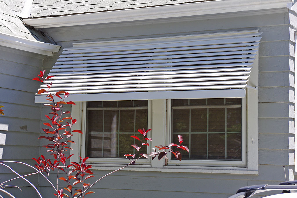 Metal Window Awnings : Aluminum window slatted awnings